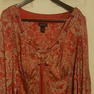Red tan lane bryant blouse
